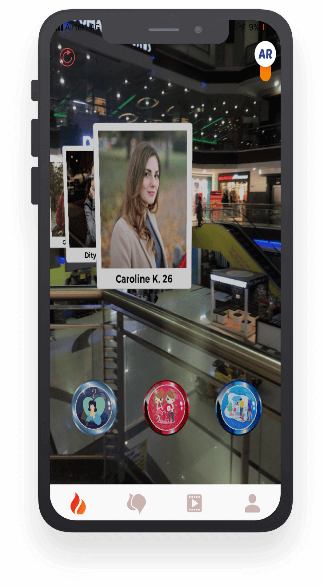 Find match and meet new people in real-time using AR Augmented Reality